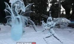 Sárkányviadal, elképesztő jégszobor , Kanadából