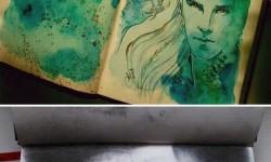 Egy lány gyönyörű Hobbit illusztrációi vízfestékkel és teafoltokkal