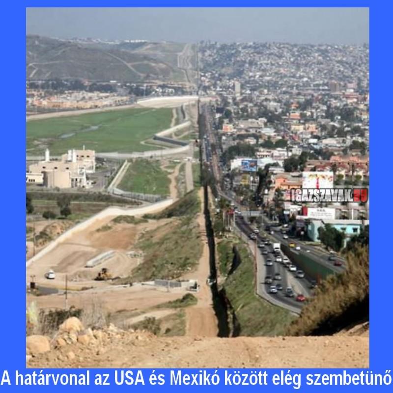 a határvonal az USA és Mexikó között elég szembetünő