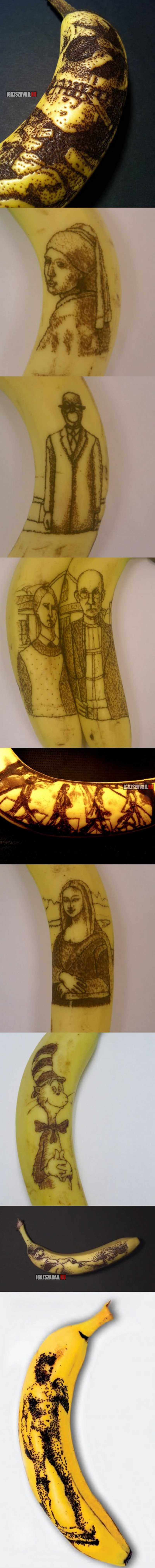 művészeti banán oxidáció, egy tű segítségével