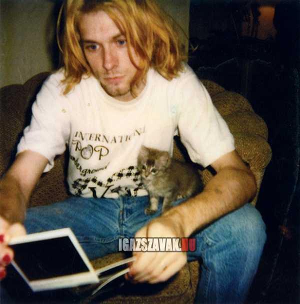 Egy ismert férfi a macskájával. Boldog születésnapot Kurt Cobain