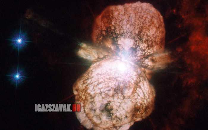 egy igazi fénykép egy csillag robbanásáról, supernova lesz belöle