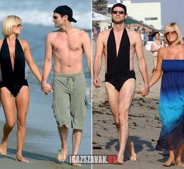 jim carry felesége fürdőruhában