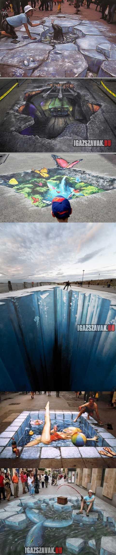 valósághű 3D aszfalt graffitik