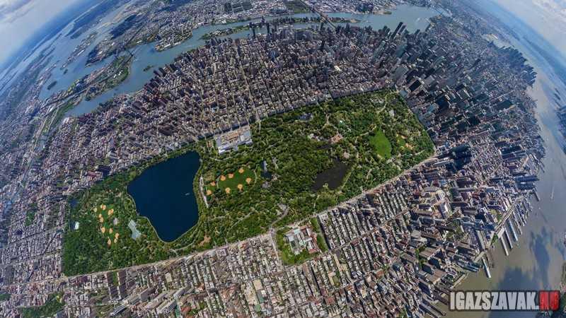 a nap képe a Central Park felülnézetből