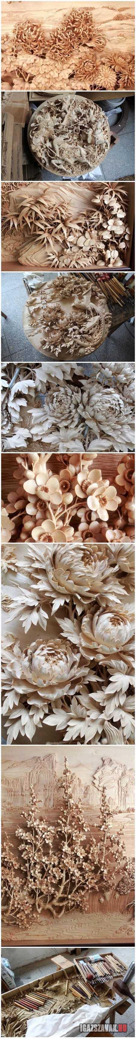 Elképesztő kínai fa kézműves ...