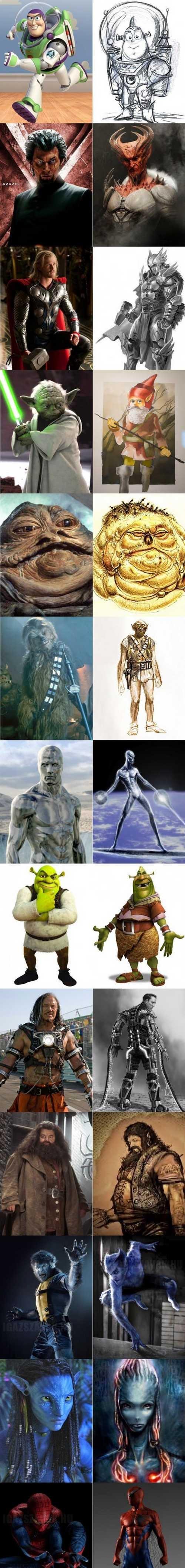 ilyenek voltak kedvenc hőseink első koncepciói