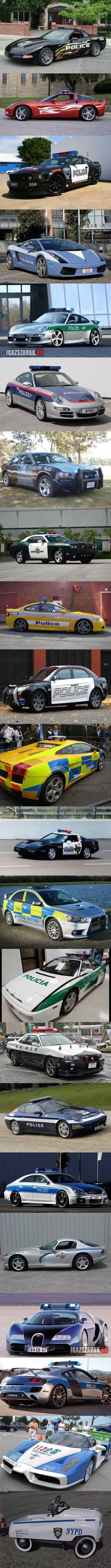 rendőrautók a nagyvilágban