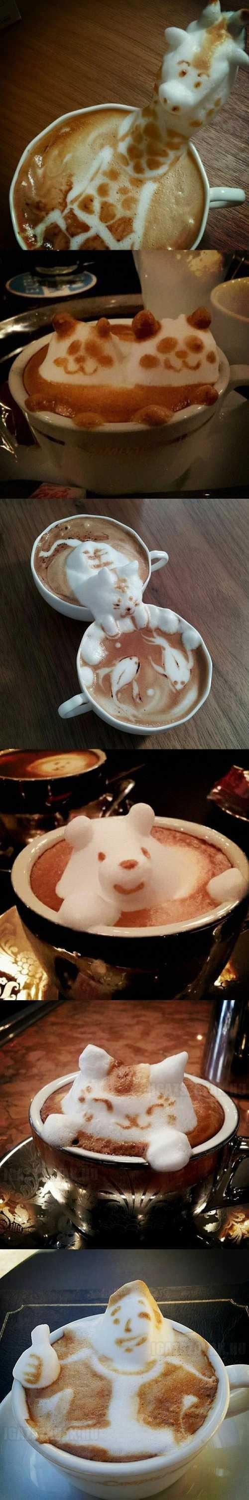 szobrászkodás cappuccino habbal