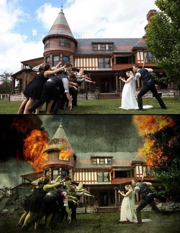 Zombis esküvői képek az albumba