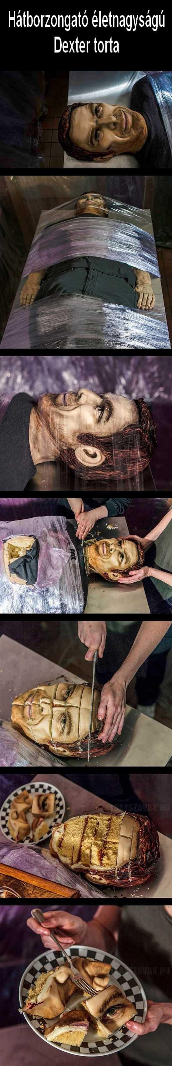 Hátborzongató életnagyságú Dexter torta