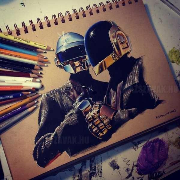 egy fantasztikus Daft Punk ceruzarajz