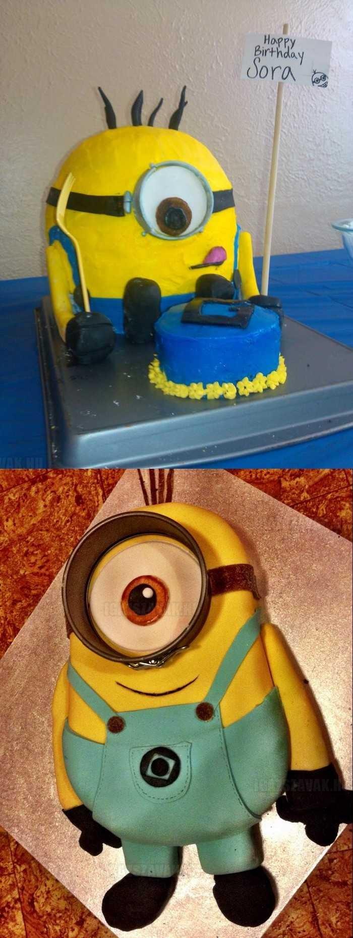 két igazán jól sikerült minion torta