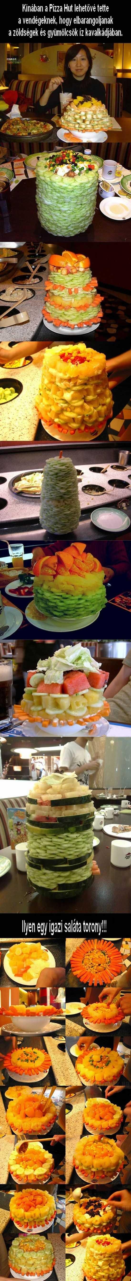 saláta tornyok