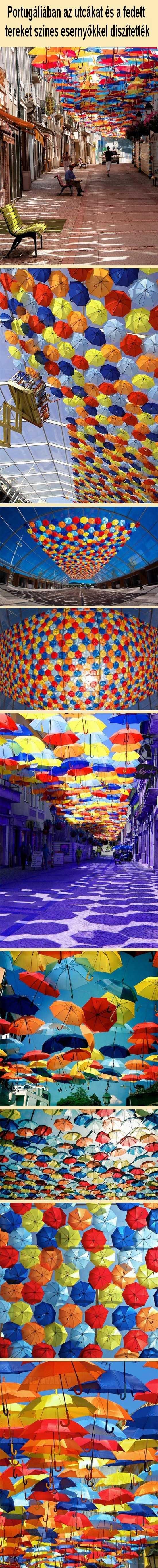 varázslatos fotók esernyők az égbolton portugáliában