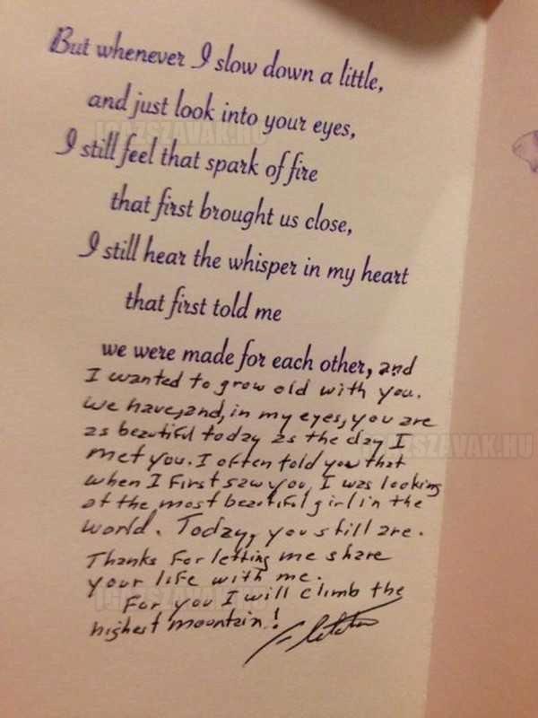 Egy 88 éves bácsi szívmelengető szerelmesleve feleségének