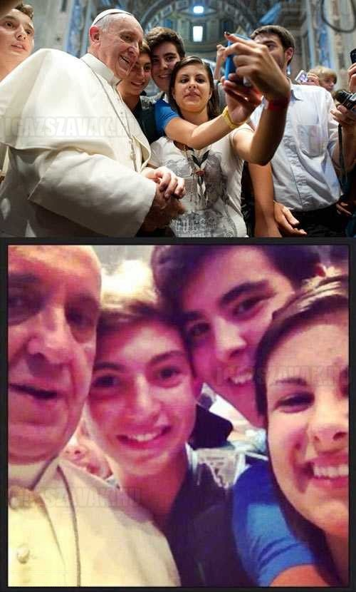 egy közös fotó a pápával