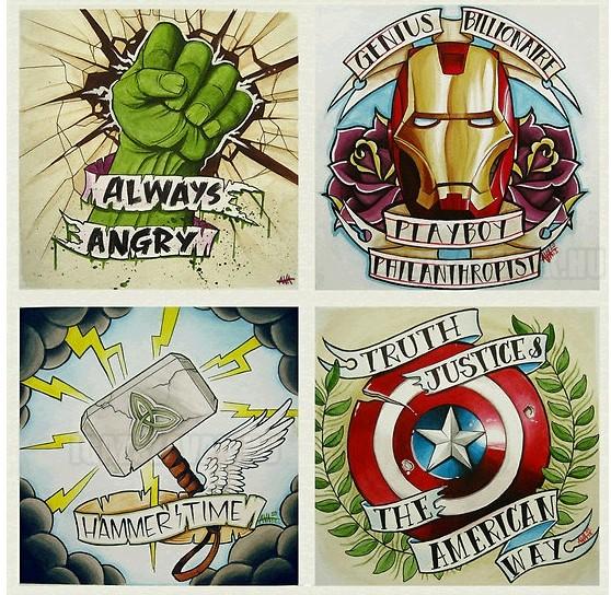 Marvel-Avengers-Vintage-Tattoos
