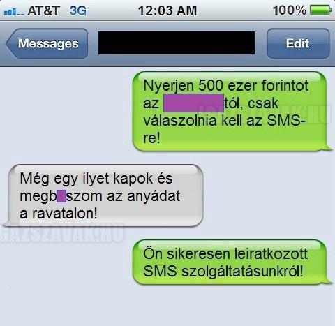 SMS nyereményjáték - Sikeres leiratkozás