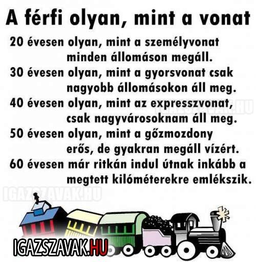 A férfi olyan, mint a vonat