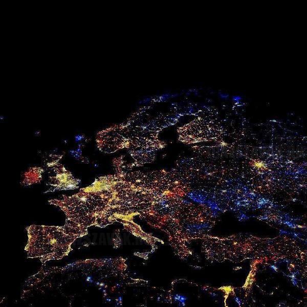 Európa műholdas felvétele
