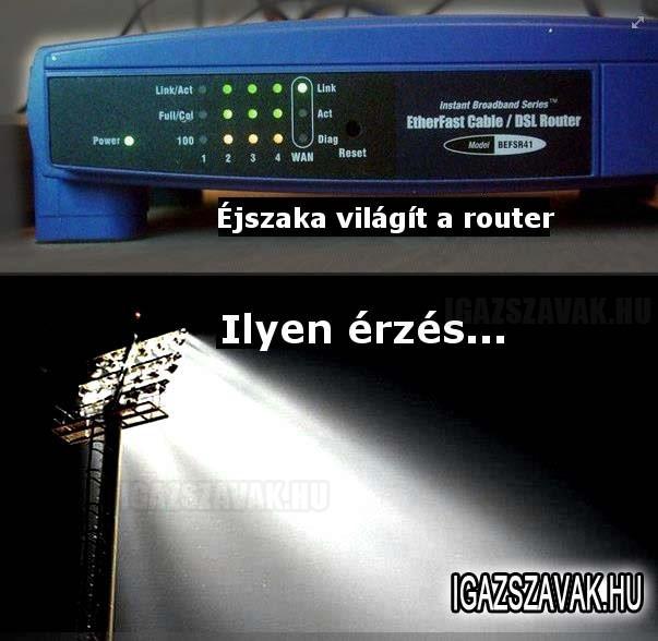 Éjszaka világít a router...