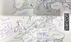 Így töltik ki az amerikai diákok az Európa vaktérképet